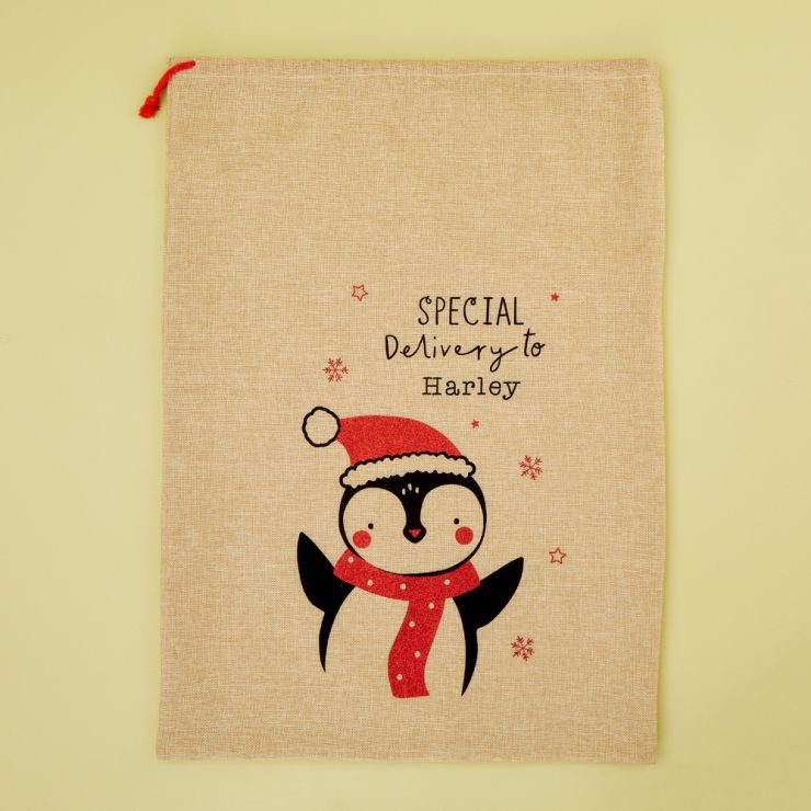 Personalized Penguin Design Hessian Christmas Sack