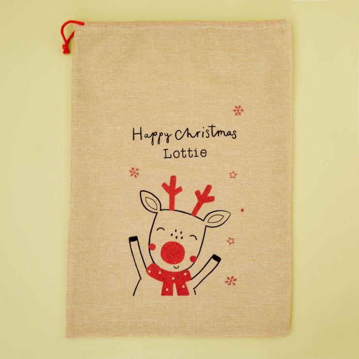 Personalized Reindeer Design Hessian Christmas Sack