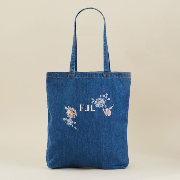 Personalised Floral Design Denim Tote Bag