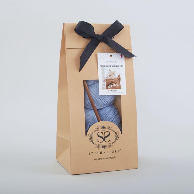 Personalized Stitch & Story Blue Blanket Knitting Kit