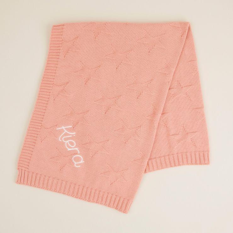 Personalised Coral Star Jacquard Blanket