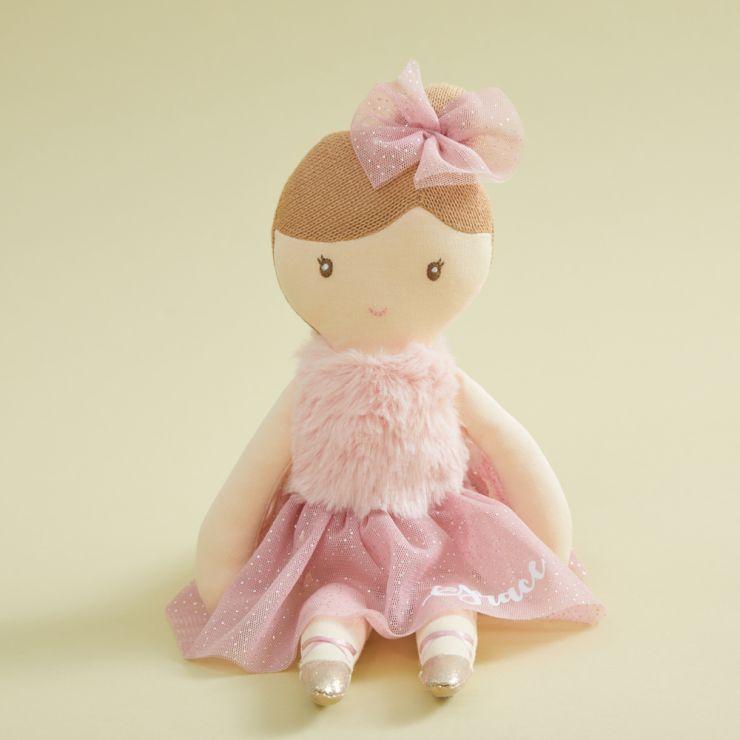Personalized Ballerina Doll in Dark Pink Dress