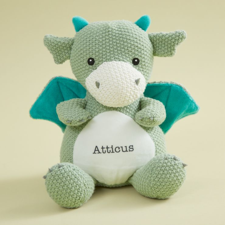 Personalised Green Knitted Dragon Soft Toy