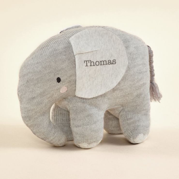 Personalised Grey Knitted Elephant Soft Toy