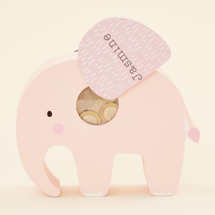 Personalised Pink Elephant Money Box