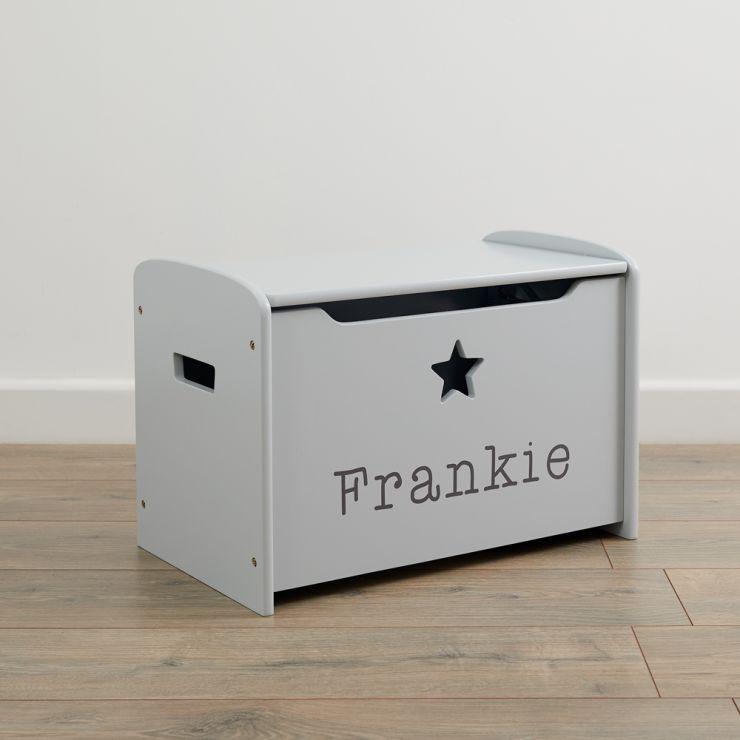 Personalised Grey Star Design Toy Box