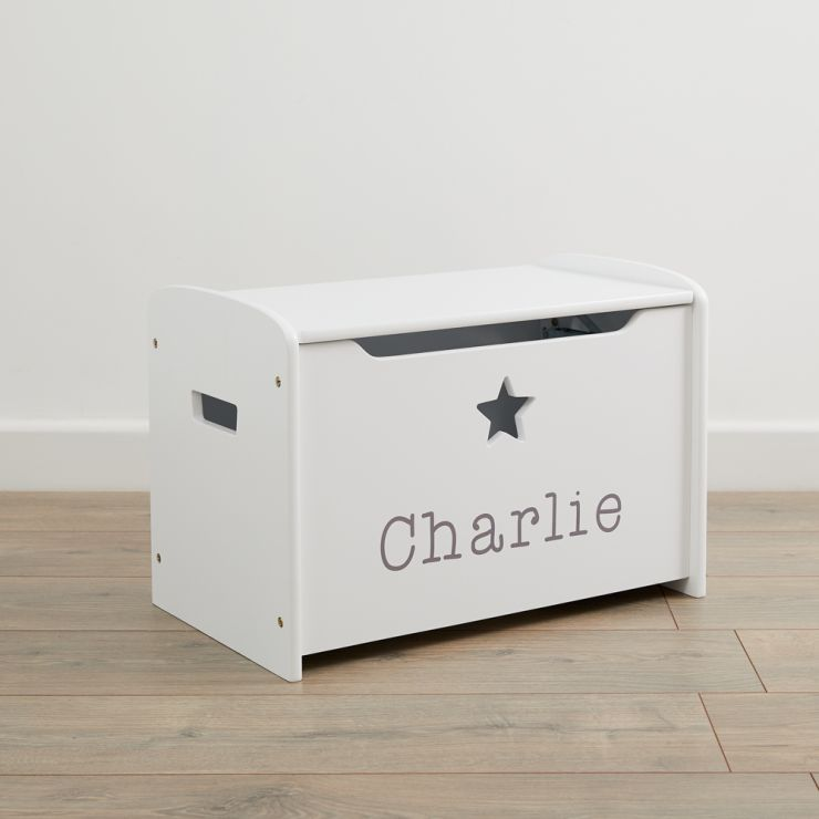Personalised White Star Design Toy Box