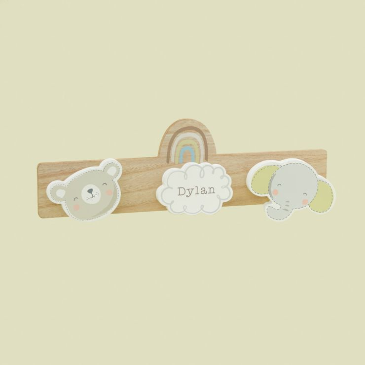 Personalized Bear and Elephant Children's Triple Coat Hook