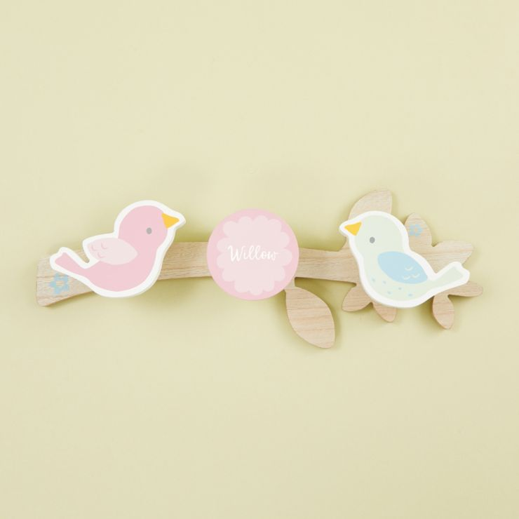Personalized Pink Wooden Coat Hooks