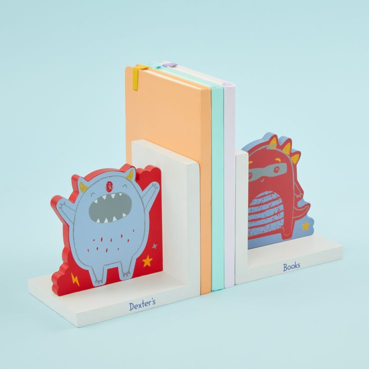 Personalised Little Monster Wooden Bookends
