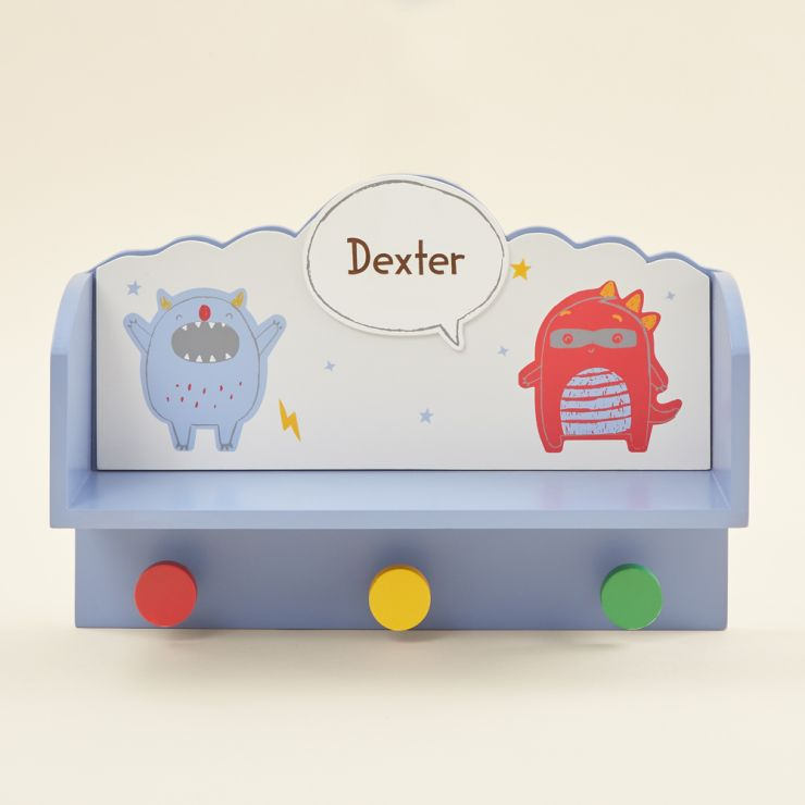 Personalized Little Monster Wooden Shelf with Hooks