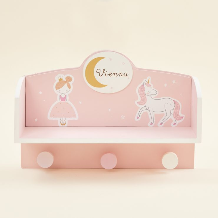 Personalized Fairytale Wooden Shelf with Hooks