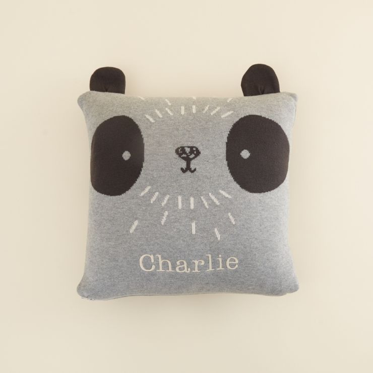 Personalised Grey Panda Design Organic Cushion (with Filling)