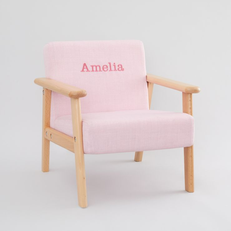 Personalized Pink Children's Arm Chair Side