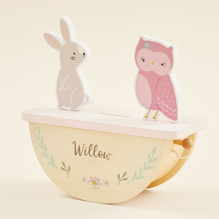 Personalized Wooden Bunny and Owl Rocking Money Box