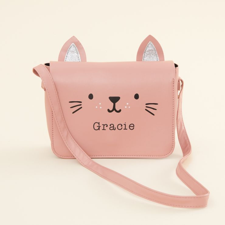 Personalized Pink Cat Toddler Handbag