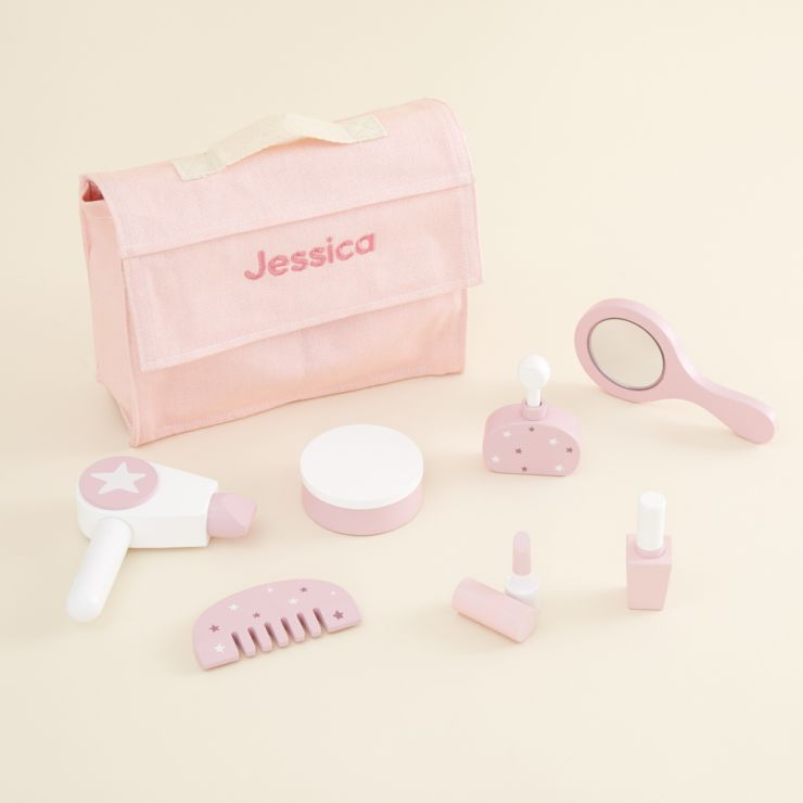 Personalized Pink Wooden Vanity Set Toy