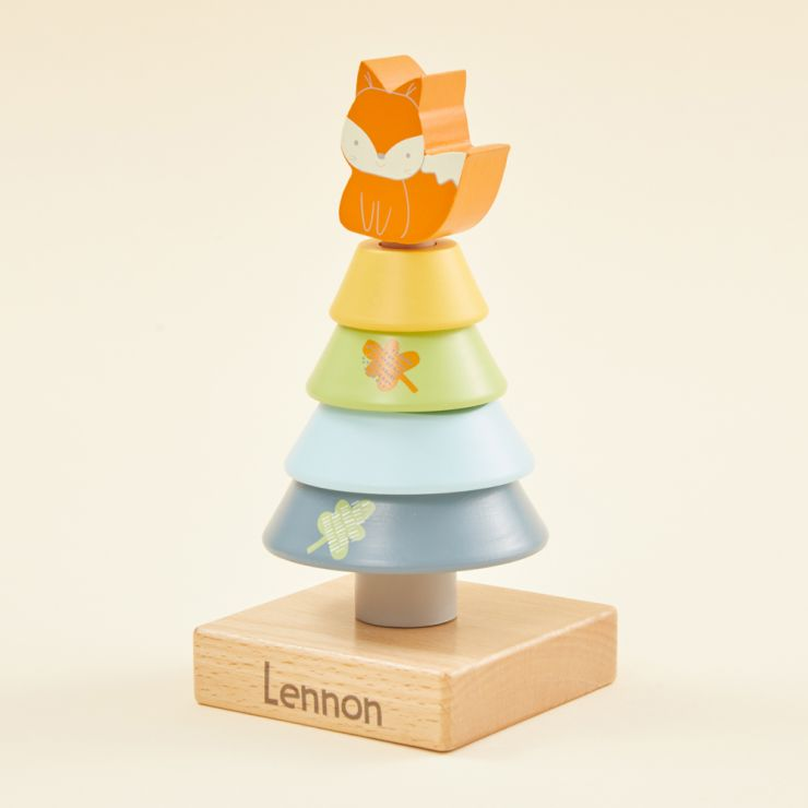 Personalised Wooden Fox Stacker Toy