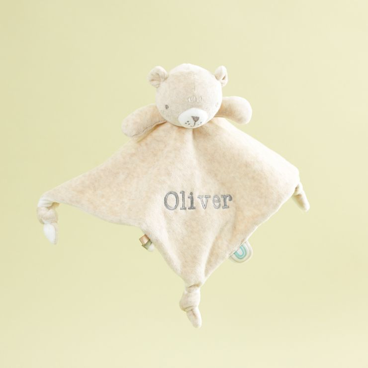 Personalized Cream Bear Velour Lovey
