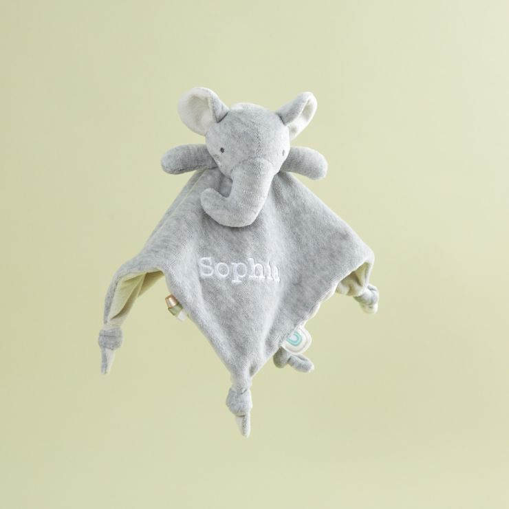 Personalized Gray Elephant Velour Lovey