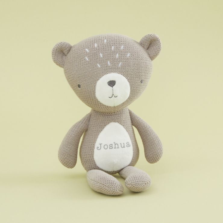 Personalised Taupe Knitted Bear Soft Toy