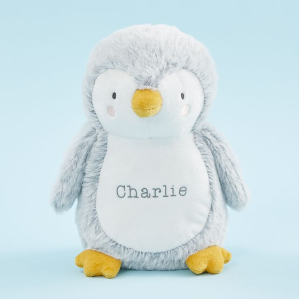 Personalized Gray Penguin Stuffed Animal