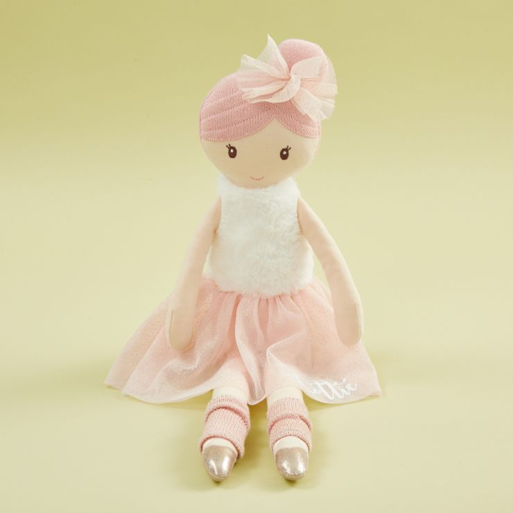 Personalized Large Ballerina Soft Doll with Pink Hair