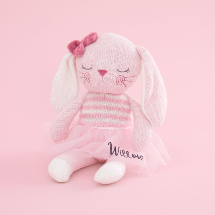 Personalised Pink Knitted Bunny Soft Toy