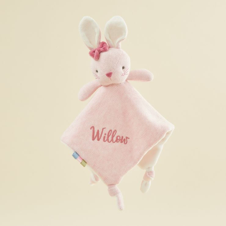 Personalized Pink Knitted Bunny Lovey
