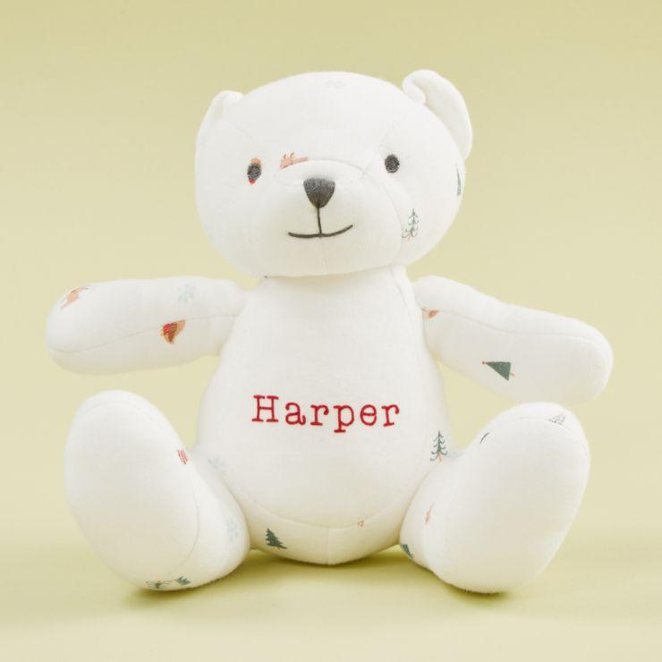 Personalised Christmas Print Organic Jersey Bear Soft Toy