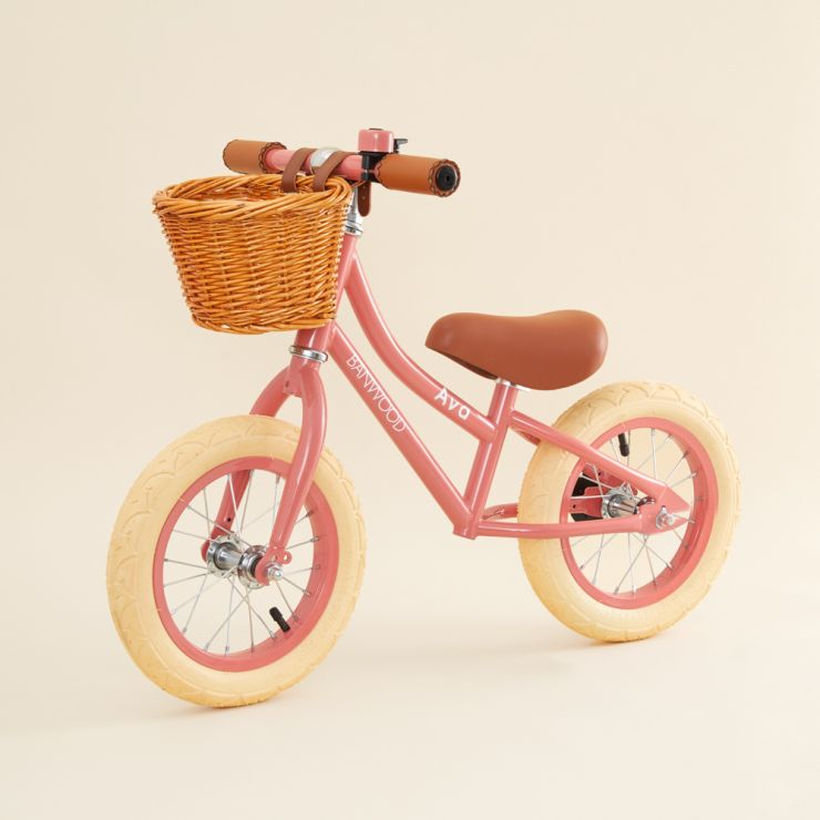 Personalised Banwood First Go Balance Bike in Coral Pink