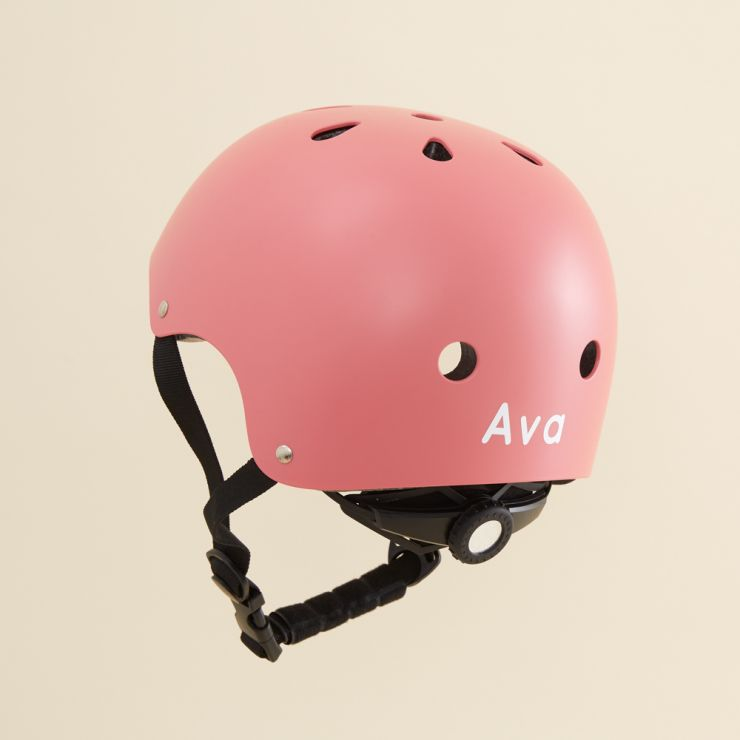 Personalised Banwood Classic Bicycle Helmet in Coral Pink Personalisation