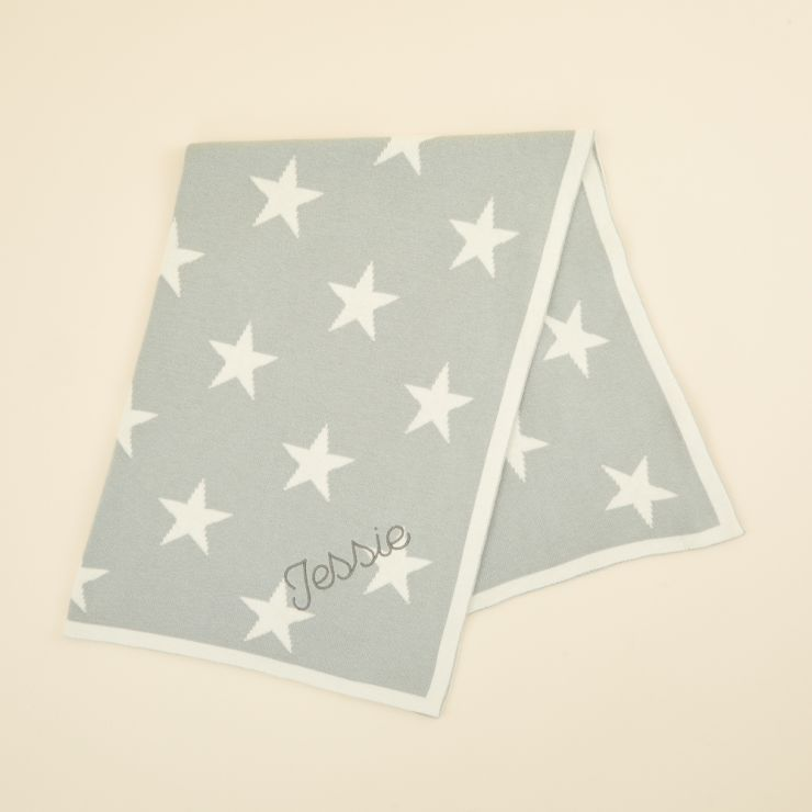 Personalized Light Blue Star Intarsia Blanket