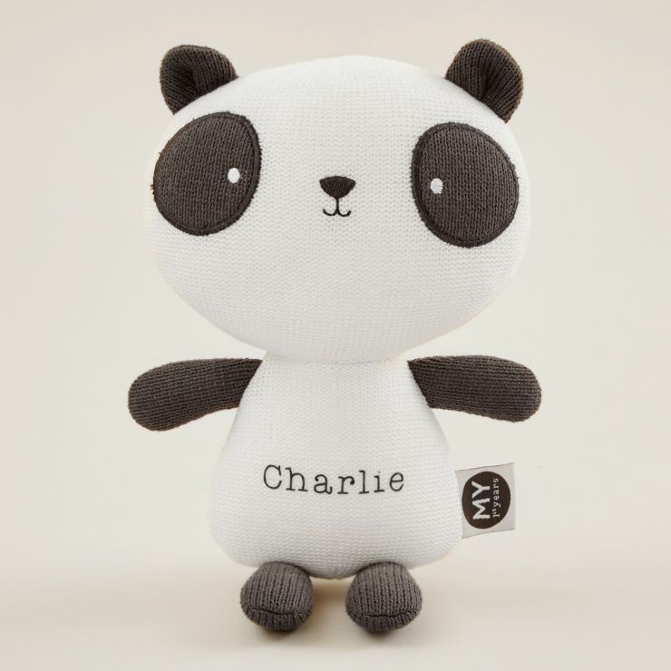 Personalised Black and White Knitted Panda Soft Toy