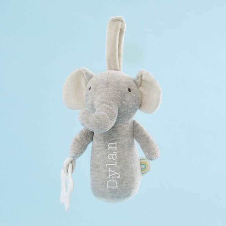 Personalised Plush Little Elephant Activity Rattle Toy