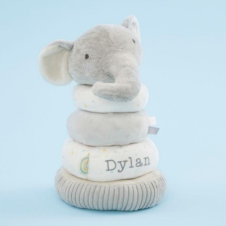 Personalized Plush Little Elephant Stacking Toy