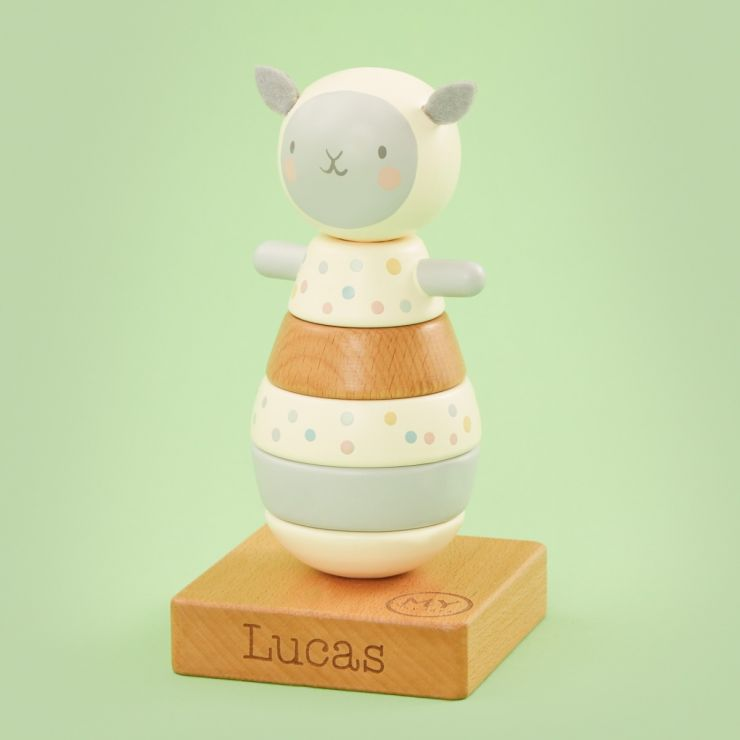 Personalized Wooden Little Lamb Stacker Toy