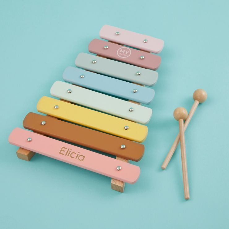 Personalised Colourful Xylophone Wooden Toy