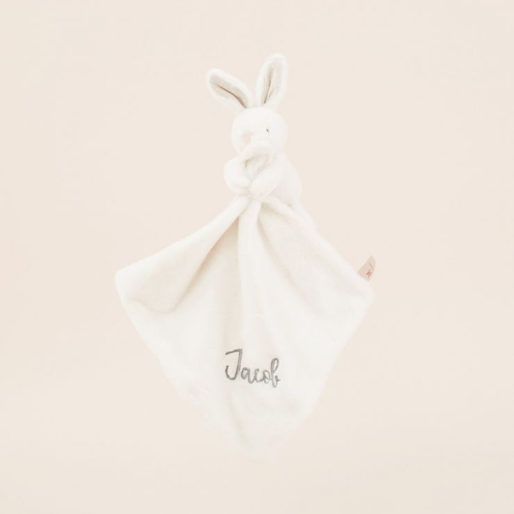 Personalized White Super Soft Bunny Lovey