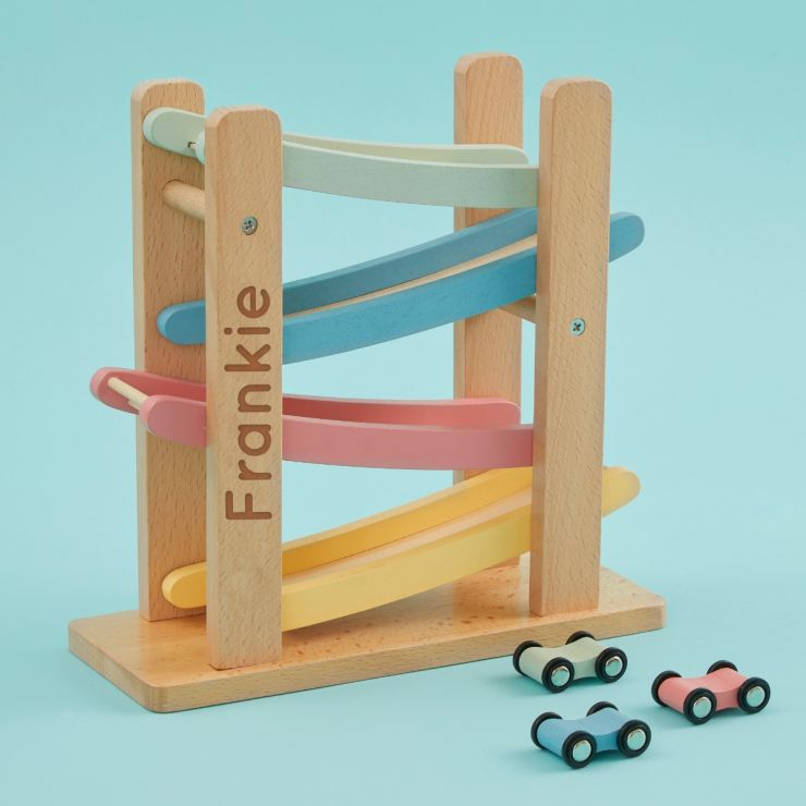 Personalised Colourful Car Ramp Wooden Toy
