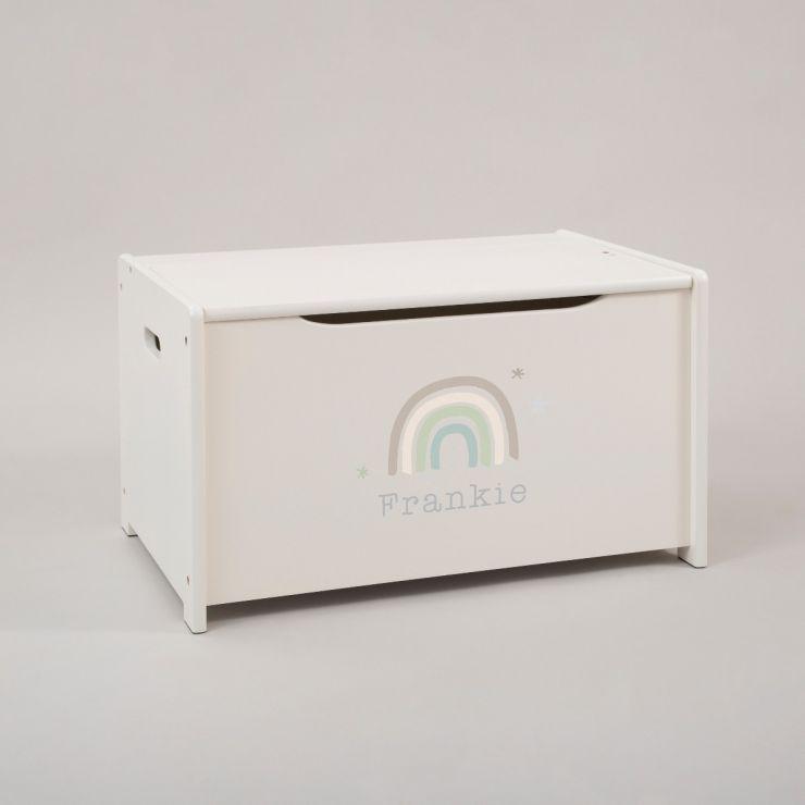Personalised Rainbow Design Toy Box