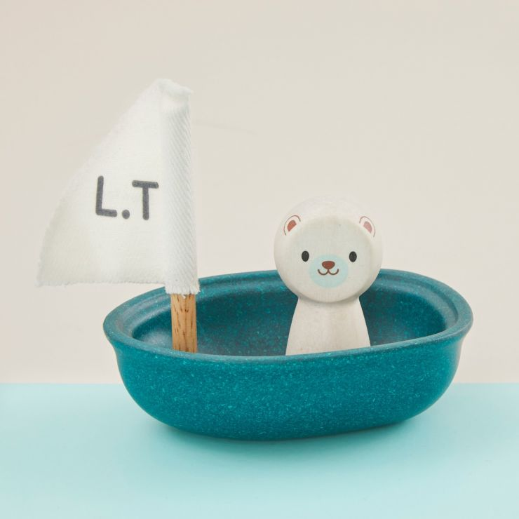 Personalized Plan Toys Polar Bear Sailing Boat Bath Toy