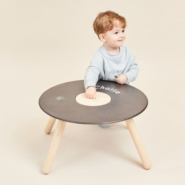 Personalised Plan Toys Round Play Table with Chalkboard