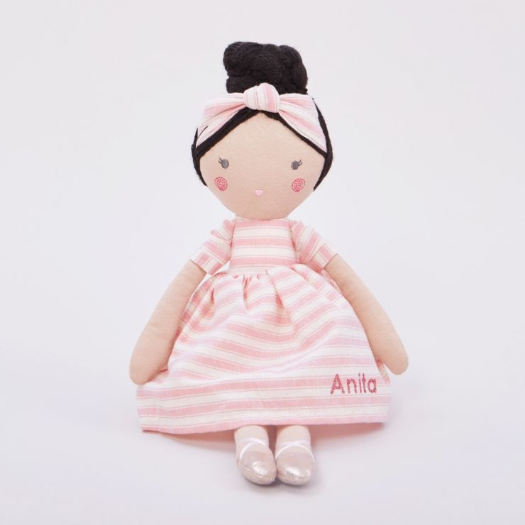 Personalised Soft Doll in Stripey Dress