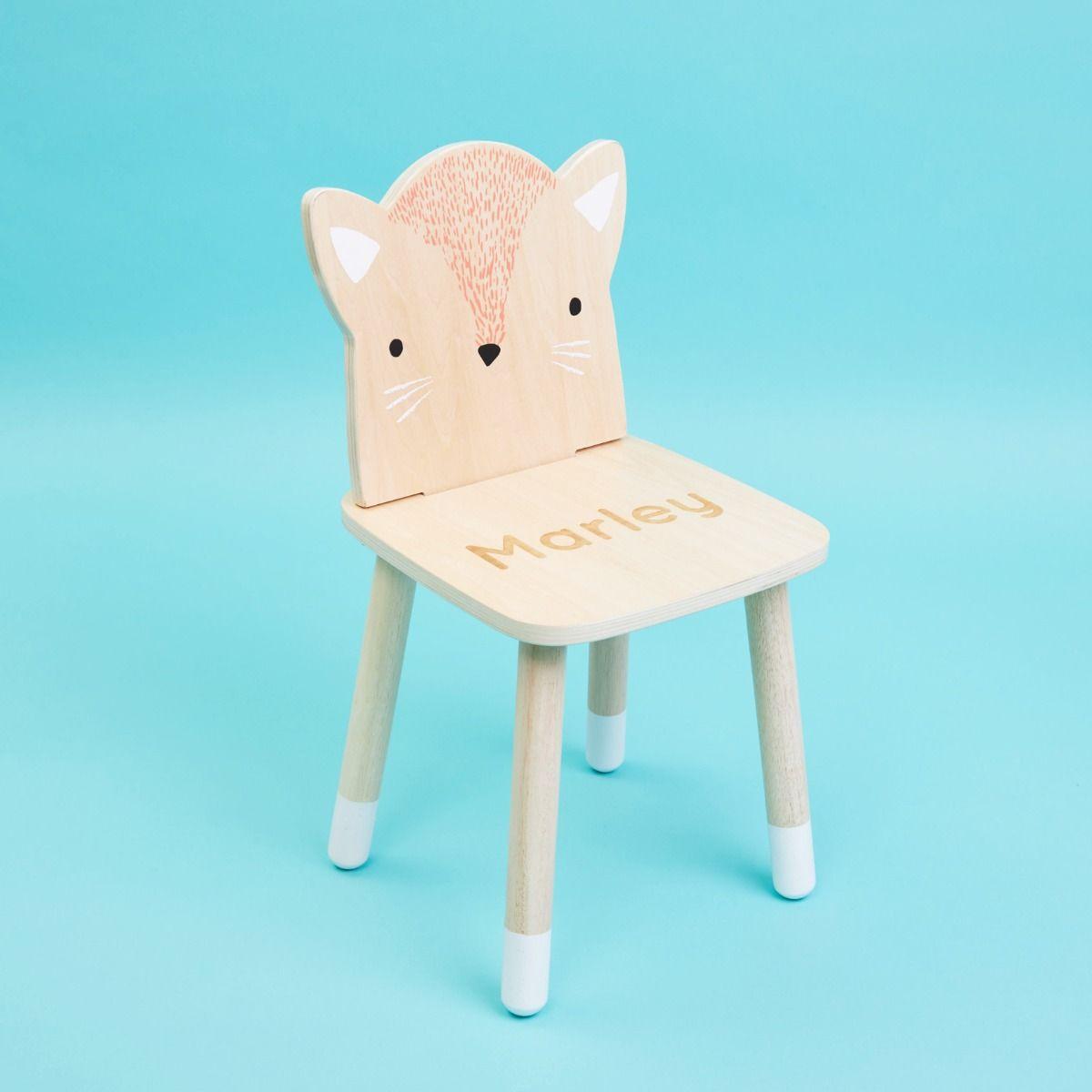 Personalised Wooden Fox Design Children's Chair