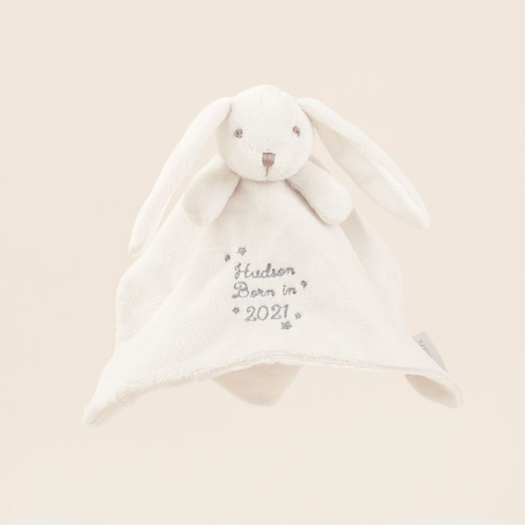 Personalised 'Born in 2021' Grey Bunny Comforter
