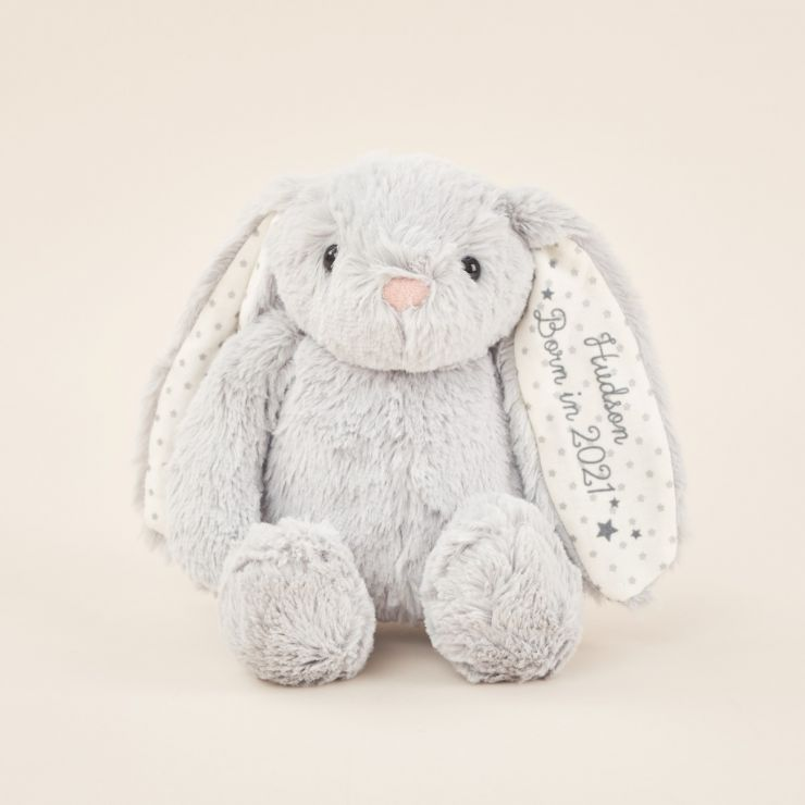 Personalized 'Born in 2021' Gray Bunny Soft Toy