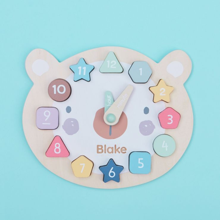 Personalised Wooden Bear Clock Puzzle