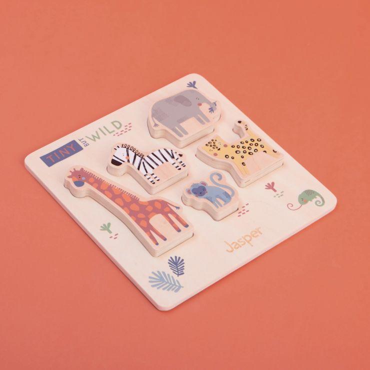 Personalised Wooden Safari Animal Puzzle