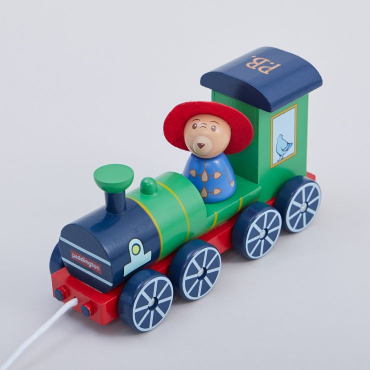 Personalised Orange Tree Toys Paddington Bear Pull-Along Train Toy